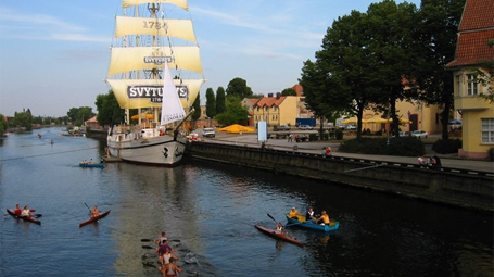 embankment with yacht in Klaipeda